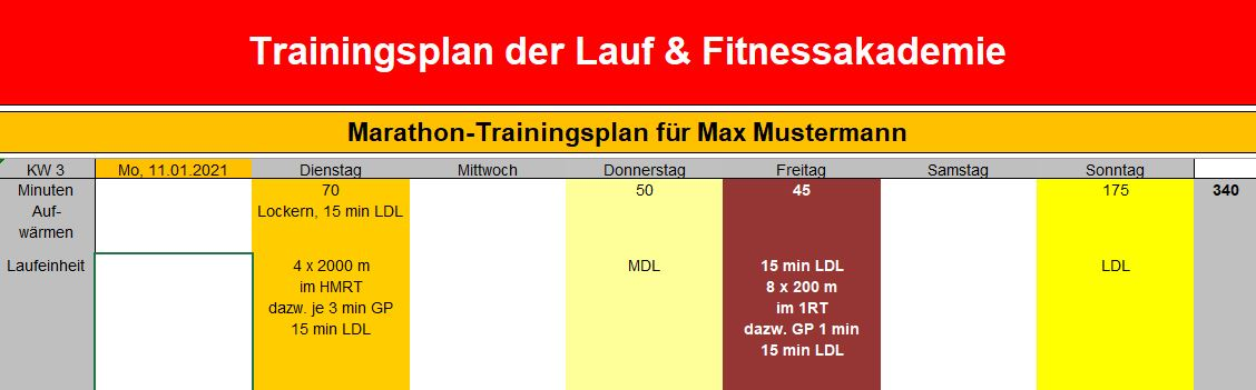 Trainingsplanung für Läufer (Trainingsplanerstellung)